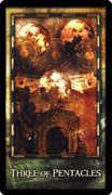 Three of Coins Tarot card in Archeon Tarot deck
