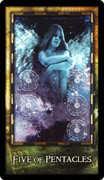 Five of Coins Tarot card in Archeon Tarot deck