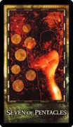 Seven of Coins Tarot card in Archeon Tarot deck