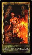 Eight of Coins Tarot card in Archeon Tarot deck