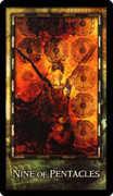 Nine of Coins Tarot card in Archeon deck