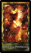 Queen of Coins Tarot card in Archeon deck