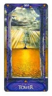 The Blasted Tower Tarot Card - Art Nouveau Tarot Deck