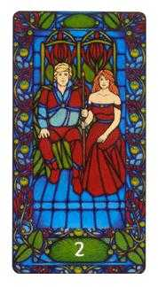 Two of Batons Tarot Card - Art Nouveau Tarot Deck