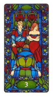 Three of Batons Tarot Card - Art Nouveau Tarot Deck