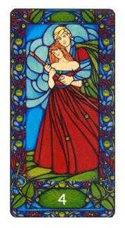 Four of Batons Tarot Card - Art Nouveau Tarot Deck