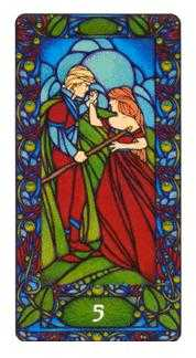 Five of Batons Tarot Card - Art Nouveau Tarot Deck