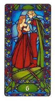 Six of Pipes Tarot Card - Art Nouveau Tarot Deck