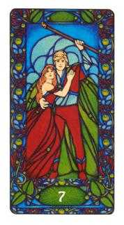 Seven of Rods Tarot Card - Art Nouveau Tarot Deck