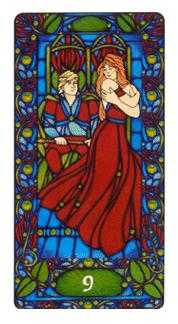 Nine of Batons Tarot Card - Art Nouveau Tarot Deck