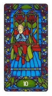 Ten of Staves Tarot Card - Art Nouveau Tarot Deck