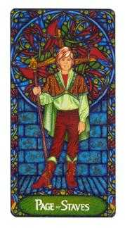 Page of Rods Tarot Card - Art Nouveau Tarot Deck