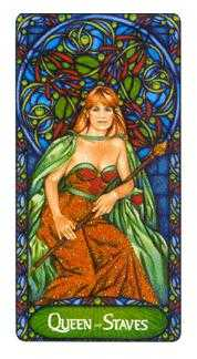 Queen of Batons Tarot Card - Art Nouveau Tarot Deck