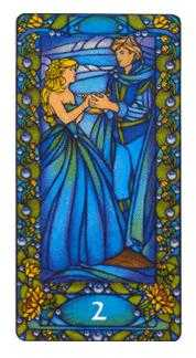 Two of Hearts Tarot Card - Art Nouveau Tarot Deck