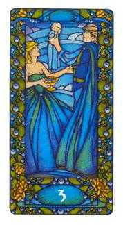Three of Hearts Tarot Card - Art Nouveau Tarot Deck