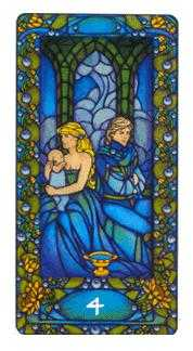 Four of Hearts Tarot Card - Art Nouveau Tarot Deck
