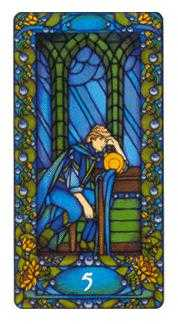 Five of Ghosts Tarot Card - Art Nouveau Tarot Deck