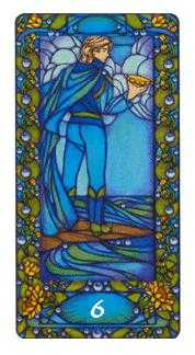 Six of Hearts Tarot Card - Art Nouveau Tarot Deck