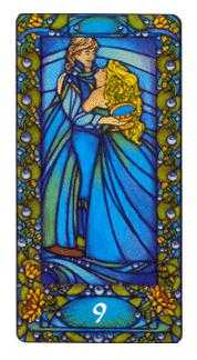 Nine of Bowls Tarot Card - Art Nouveau Tarot Deck