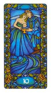 Ten of Hearts Tarot Card - Art Nouveau Tarot Deck