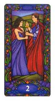 Two of Wind Tarot Card - Art Nouveau Tarot Deck