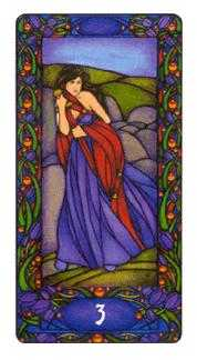 Three of Bats Tarot Card - Art Nouveau Tarot Deck