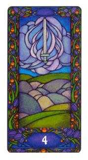 Four of Bats Tarot Card - Art Nouveau Tarot Deck