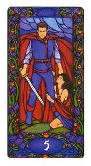 Five of Wind Tarot Card - Art Nouveau Tarot Deck