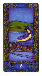 Six of Wind Tarot Card - Art Nouveau Tarot Deck