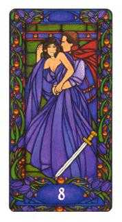 Eight of Bats Tarot Card - Art Nouveau Tarot Deck