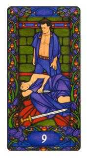Nine of Wind Tarot Card - Art Nouveau Tarot Deck