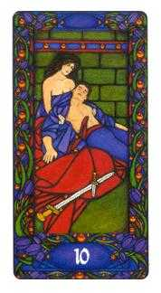 Ten of Arrows Tarot Card - Art Nouveau Tarot Deck