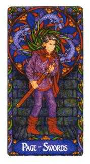 Page of Spades Tarot Card - Art Nouveau Tarot Deck