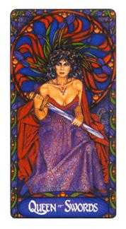 Queen of Swords Tarot Card - Art Nouveau Tarot Deck