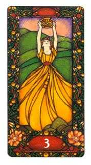 Three of Coins Tarot Card - Art Nouveau Tarot Deck
