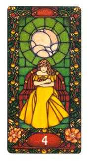 Four of Coins Tarot Card - Art Nouveau Tarot Deck