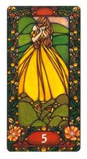 Five of Coins Tarot Card - Art Nouveau Tarot Deck