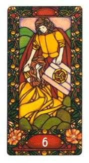 Six of Coins Tarot Card - Art Nouveau Tarot Deck