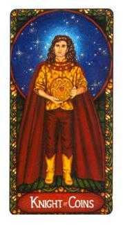 Cavalier of Coins Tarot Card - Art Nouveau Tarot Deck