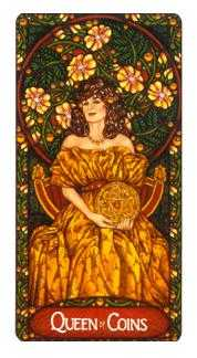 Queen of Coins Tarot Card - Art Nouveau Tarot Deck