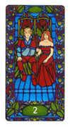Two of Staves Tarot card in Art Nouveau Tarot deck
