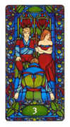 Three of Staves Tarot card in Art Nouveau deck