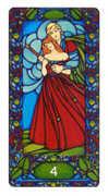 Four of Staves Tarot card in Art Nouveau Tarot deck