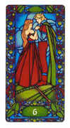 Six of Staves Tarot card in Art Nouveau deck