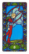 Eight of Staves Tarot card in Art Nouveau deck