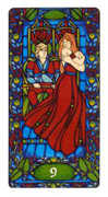 Nine of Staves Tarot card in Art Nouveau deck