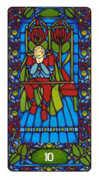 Ten of Staves Tarot card in Art Nouveau deck