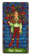 Page of Staves Tarot card in Art Nouveau deck