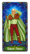 Knight of Staves Tarot card in Art Nouveau deck