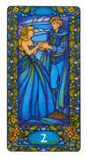 Two of Cups Tarot card in Art Nouveau Tarot deck
